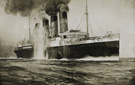 <em>Torpedoed <em>Lusitania</em>,</em> drawing printed in <em>New York Herald</em> and <em>London Sphere</em>, ca. 1915