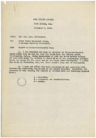Lt. Col. Dwight D. Eisenhower's summary report on the Transcontinental Motor Convoy, November 3, 1919, cover memo