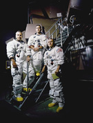 <em>Apollo 8</em> crewmembers, left to right: James A. Lovell, Jr., William A. Anders, and Frank Borman, November 22, 1968