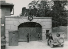 Gates at the main entrance to Dachau concentration camp, 1945