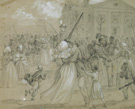 <em>African American soldiers mustered out at Little Rock, Arkansas,</em> drawing by Alfred R. Waud, published in <em>Harper's Weekly</em>, May 19, 1866 (Detail)