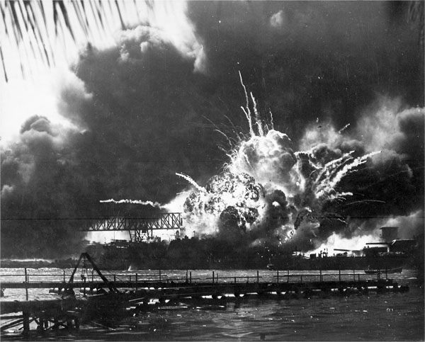 """USS Shaw(ddd-373) exploding during the Japanese raid on Pearl Harbor."""