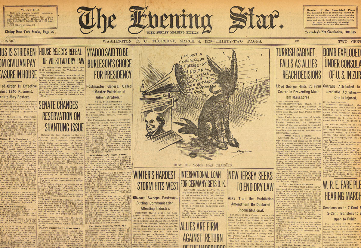 Front Page Of The Washington Evening Star March 4 1920 Detail