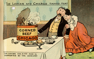 historical postcard that reads The Lodger and Chicago Tinned Meat - the lodger has a fit and is supported by the landlady