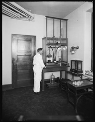 historical image of researcher working in laboratory
