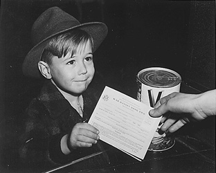 historical photo of child with ration card