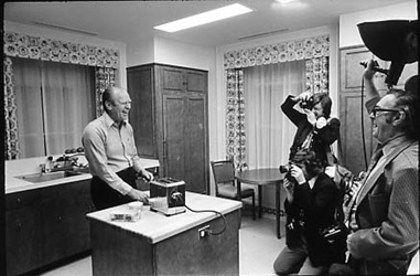 historical photo of Gerald Ford making toast