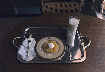 historical image of breakfast tray