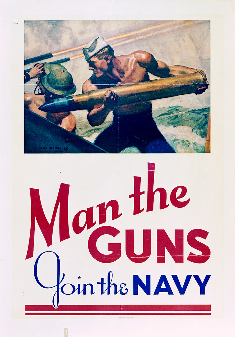 Man the guns join the navy by mcclelland barclay 1942 records of the office of government reports view in online catalog