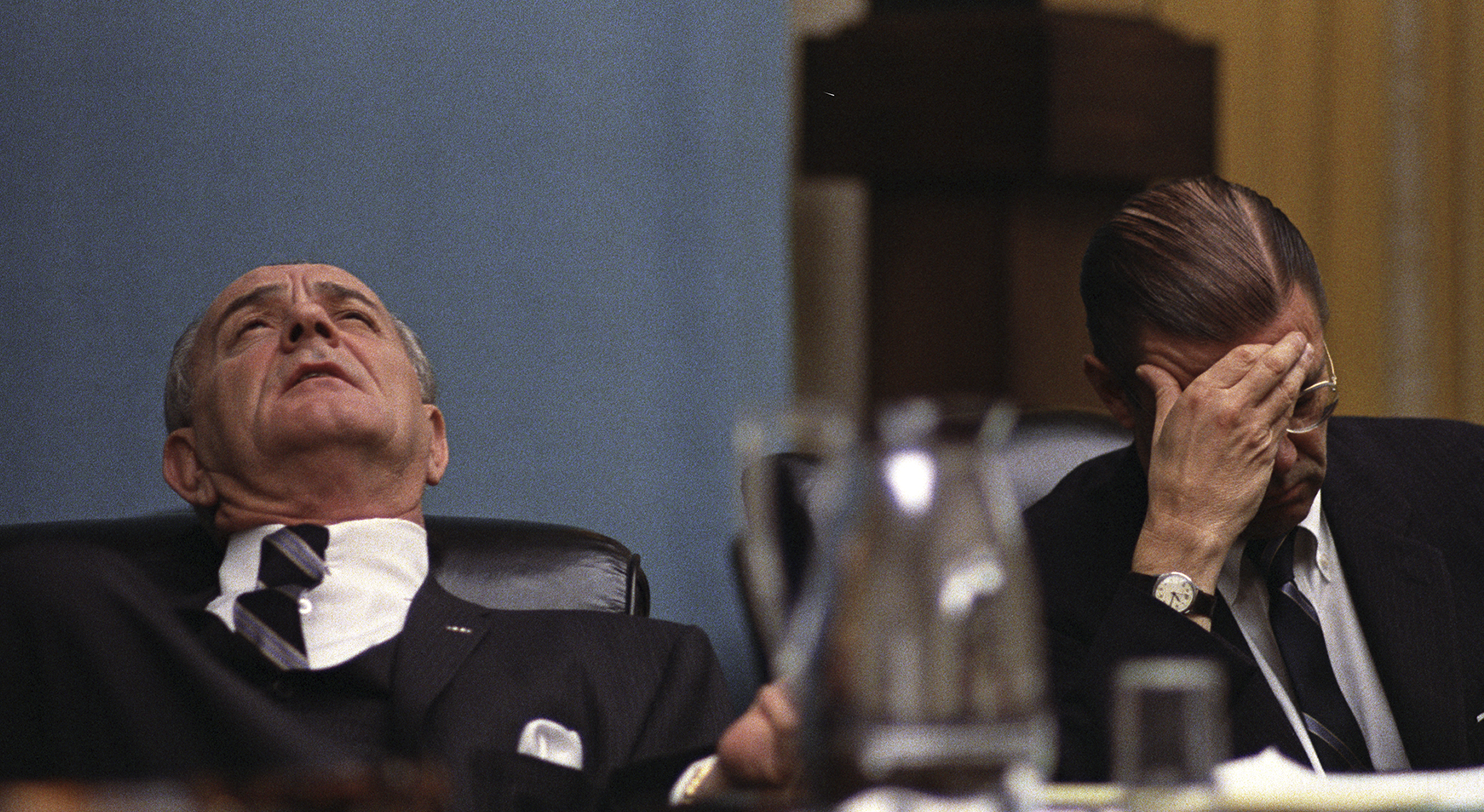 President Johnson and Secretary of Defense Robert McNamara at a cabinet meeting, February 7, 1968. In the wake of the surprisingly fierce and well-coordinated attacks by Communist troops during the Tet Offensive, the Johnson administration began to questi