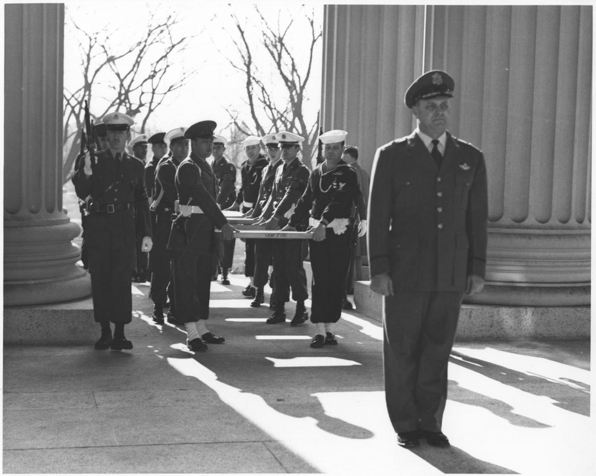 Armed Services Special Police and General Ross at the Door to the National Archives, December 13, 1952