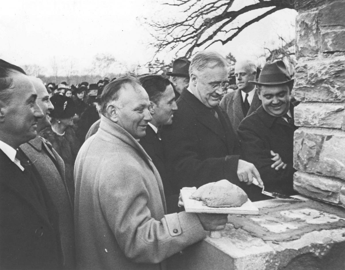 FDR Laying the Cornerstone for the Franklin D. Roosevelt Presidential Library and Museum