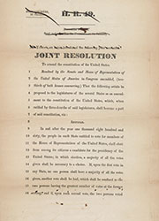 H.J. Res. 8 proposing a constitutional amendment to elect the President by lot</a>, January 13, 1846, Records of the U.S. House of Representatives.
