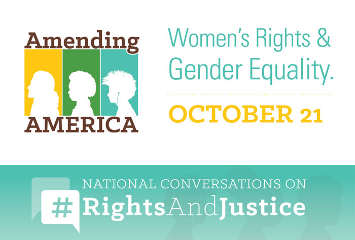 Logo for the National Conversations on #RightsAndJustice: Women's Rights and Gender Equality