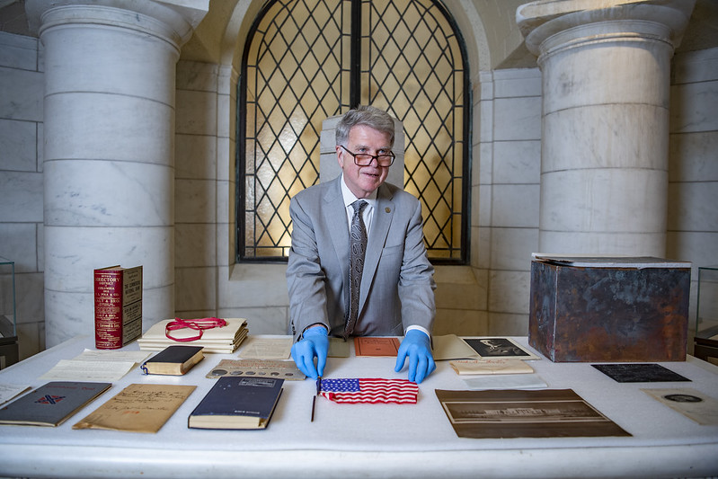 Archivist at Arlington Cemetery time capsule