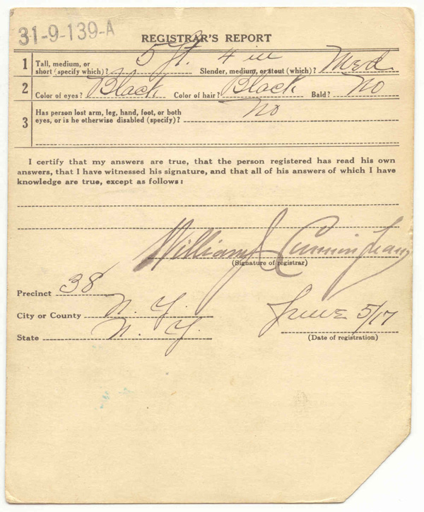 world war i draft cards marcus garvey national archives back of card