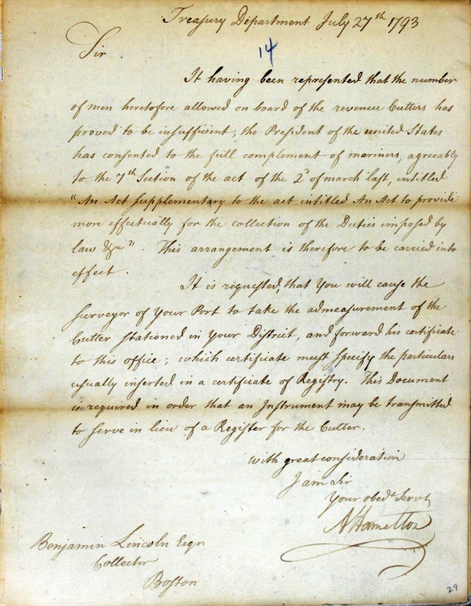 Letter from Alexander Hamilton to Benjamin Lincoln Regarding the Crew Size for Revenue Cutters