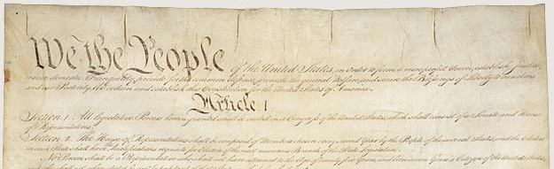 An image of the preamble to the US Constitution