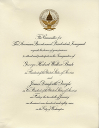 Invitation to President George H.W. Bush's inauguration