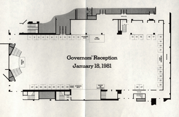 Floor plan for reception held before President Ronald Reagan's inauguration