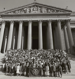 Staff on steps of National Archives Building