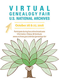 Virtual Genealogy Fair 2016 poster