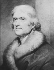 Portrait of Thomas Jefferson by Rembrandt Peale, ca. 1805.