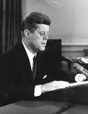 Kennedy reading his Cuban missile crisis address