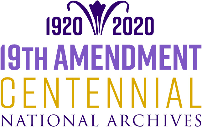 Purple and yellow text on a white background. Text reads 1920 - 2020. 19th Amendment Centennial National Archives.  The dash in the date range is replaced with a stylized lily graphic.