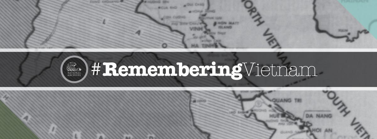 Remembering Vietnam text overlaid on map segment