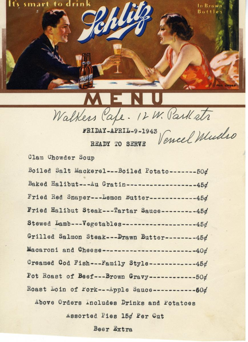 World War II Era Menus