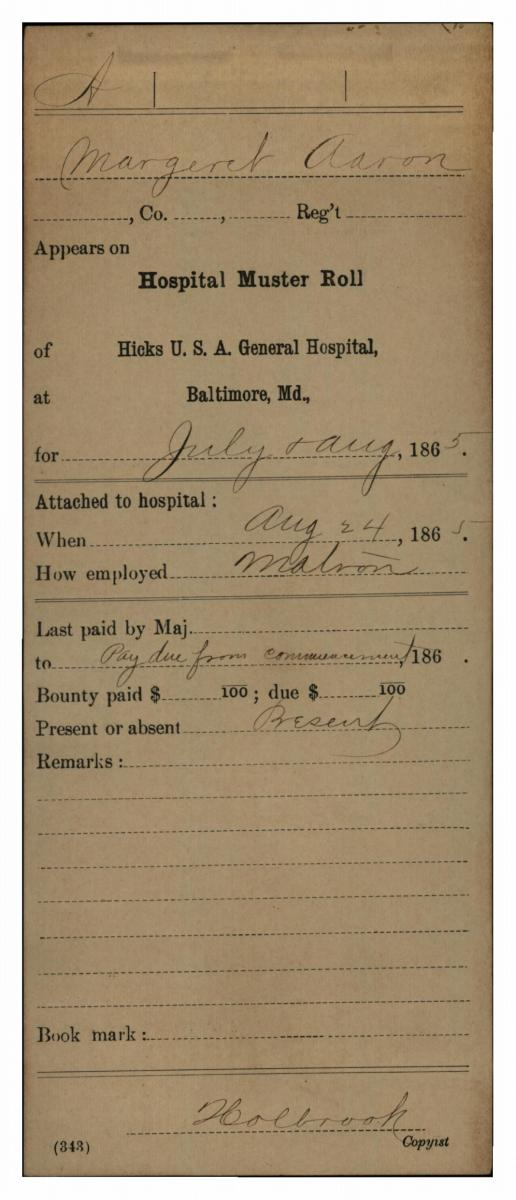 Carded Service Records of Hospital Attendants, Matrons and Nurses, 1861 - 1865