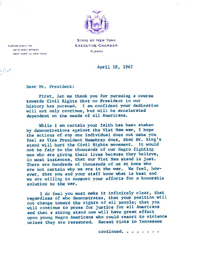 Letter from President Lyndon B. Johnson from Jackie Robinson
