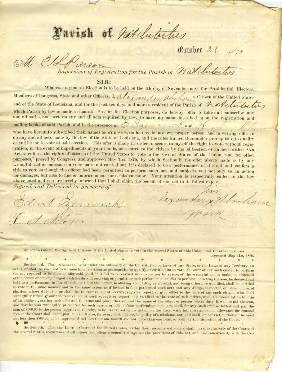 Affidavits of Rejected Voters, 1872 - 1886