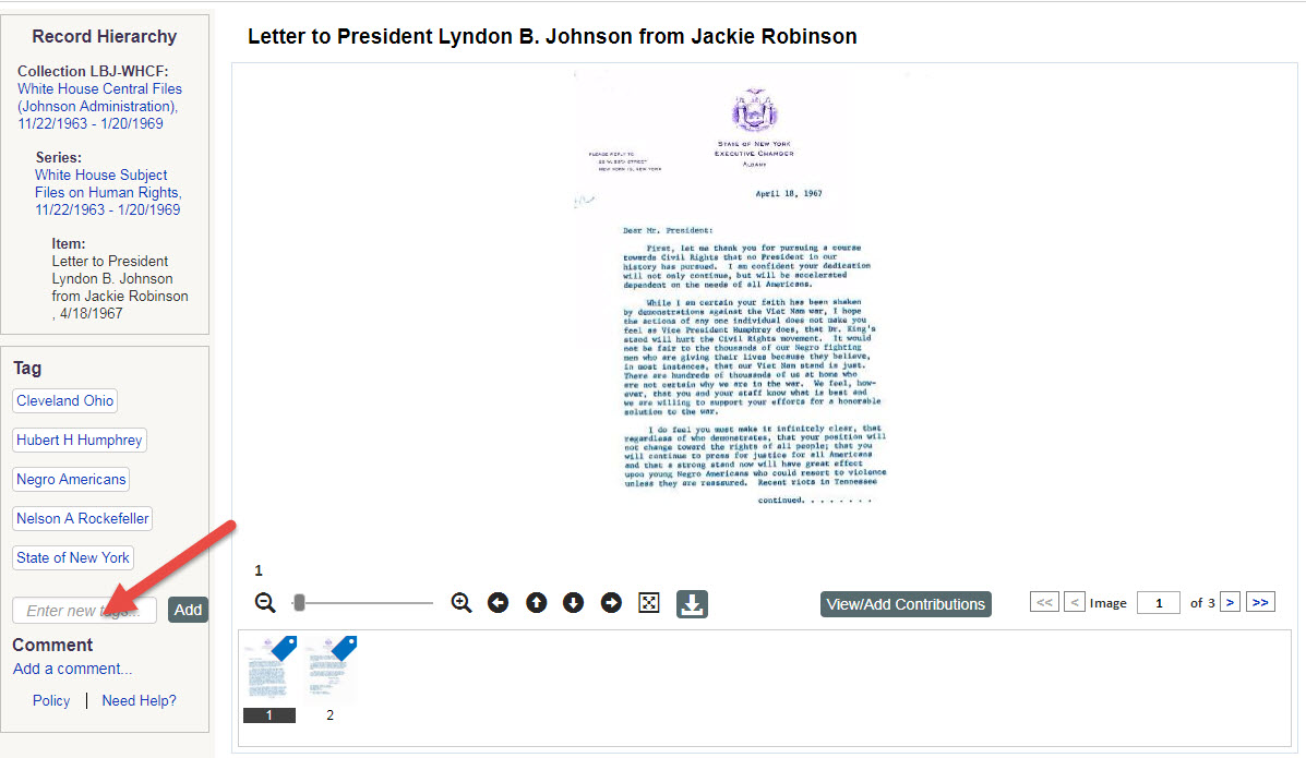 Letter to President Lyndon B. Johnson from Jackie Robinson
