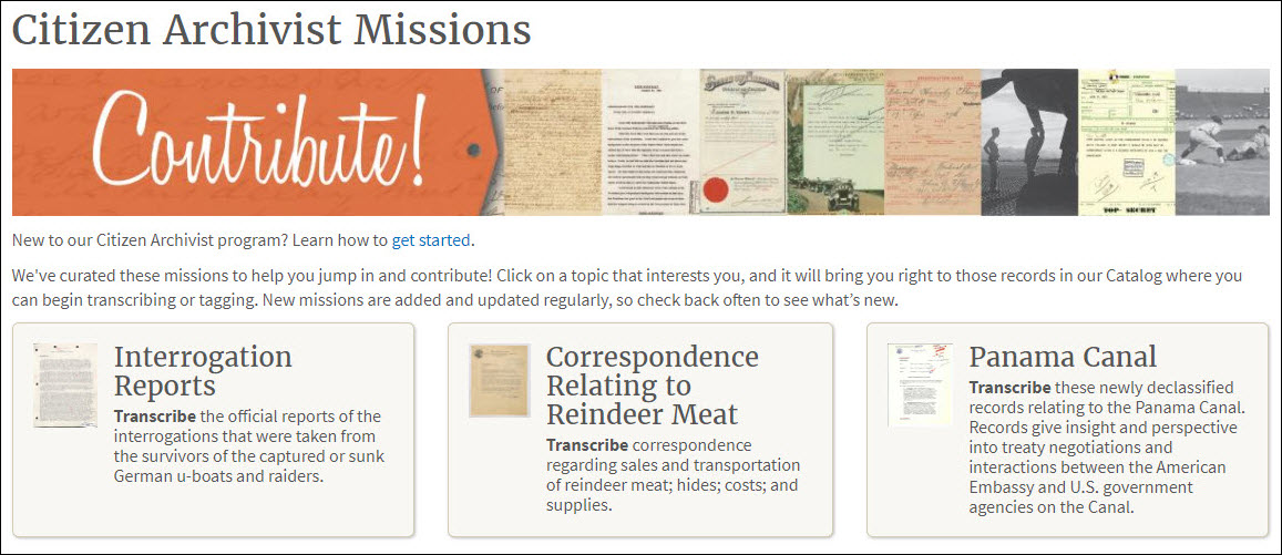 Citizen Archivist missions