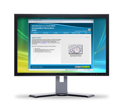 Image of a computer screen with the current courseware displayed.