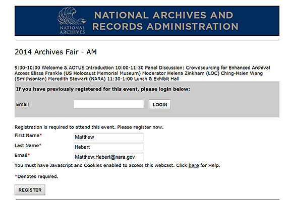 screenshot showing online registration