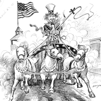 Cartoon of Uncle Sam driving horses