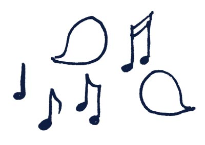 Music notes and speech bubbles