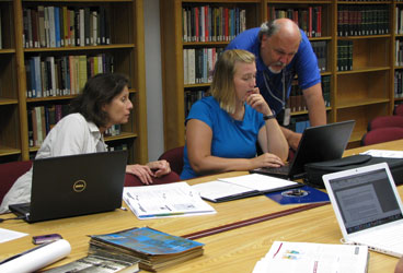 Teachers in a workshop at Hoover Library