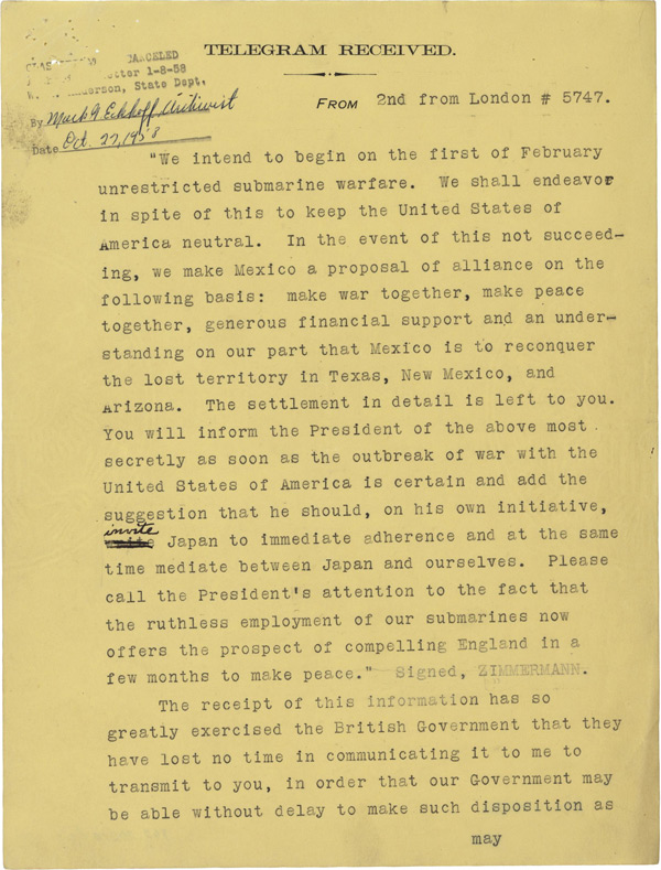 The Zimmermann Telegram National Archives