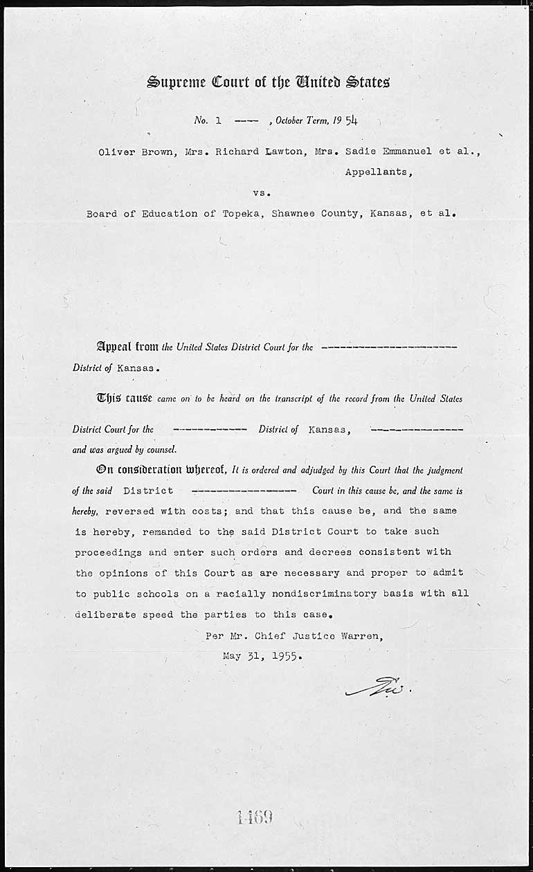 documents related to brown v board of education national archives brown v board of education judgement acircmiddot click to enlarge