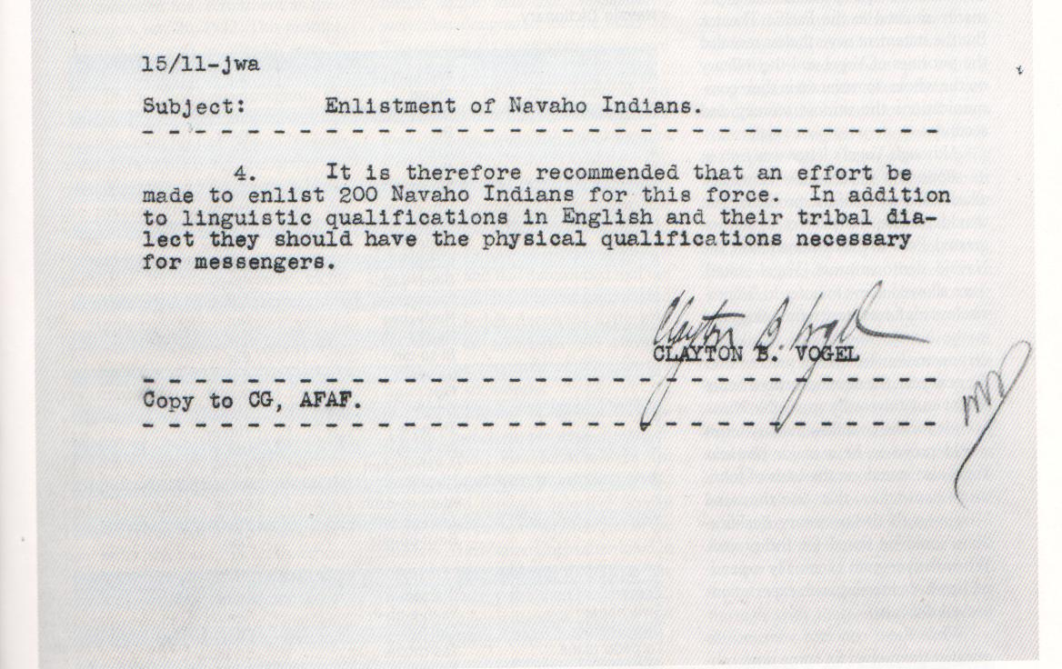 Memorandum Regarding The Enlistment Of Navajo Indians