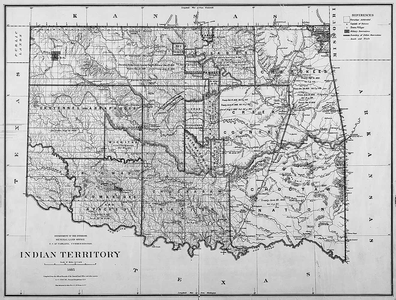 Map Of Indian Territory Oklahoma 1885