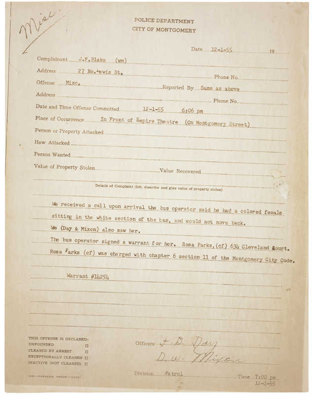 an act of courage the arrest records of rosa parks national  refer to caption