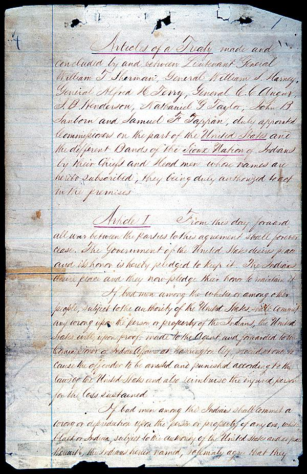 Sioux Treaty of 1868 | National Archives