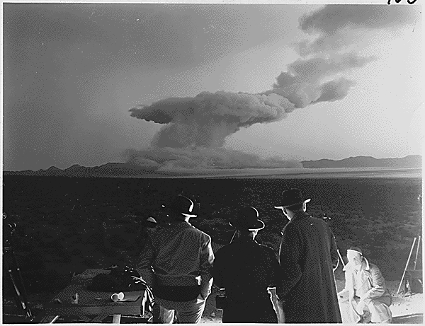 Photograph after detonation of the atomic blast in Operation Cue