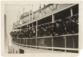Photograph of Immigrants on a Ferry Boat Near Ellis Island
