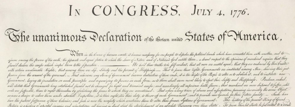 Top portion of the Declaration of Independence